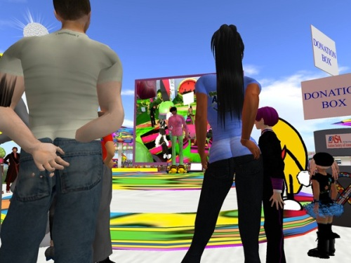 Torley Linden speaking at Bounce for Autism in Second Life